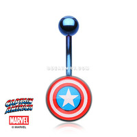 Captain America Blue Titanium PVD Belly Button Ring
