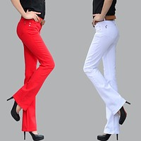 2017 autumn casual pants female trousers elastic flare trousers lager size. female boot cut fashion jeans pants women