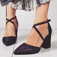 Fashion sexy solid color thick heel cross strap high heel pointed toe sequin buckle sandals