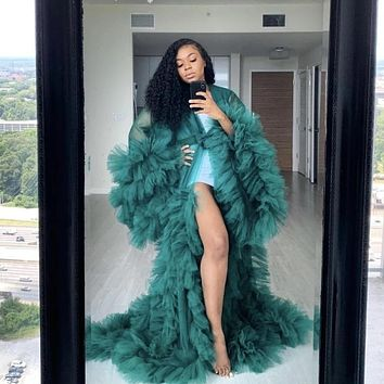 Fashion Tulle Kimono Women Green Dress Robe Extra Puffy Prom Party Dresses Puffy Sleeves Cape Cloak Pregnant Gowns