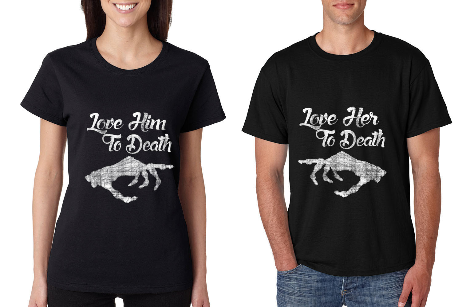 Image of Love her Love him to death Couple shirts Valentines day
