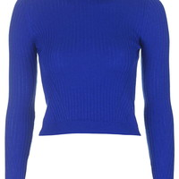 Ribbed Wool Blend Cropped Jumper - Topshop