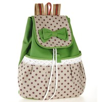 ZLYC Girls Super Cute Lace Casual Canvas Bowknot School Backpack (green)