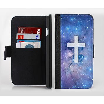 The Vector White Cross v2 over Purple Nebula Ink-Fuzed Leather Folding Wallet Credit-Card Case for the Apple iPhone 6/6s, 6/6s Plus, 5/5s and 5c