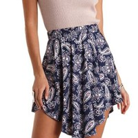 Curved Hem Paisley Print Skater Skirt by Charlotte Russe