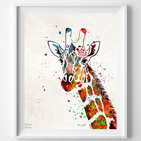 Giraffe Print, Watercolor Art, Type 2, Africa, Painting, Gift Idea, Baby Room Poster, Nursery, Baby Room, Watercolour, Mothers Day Gift