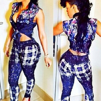 Starry Sky Print Front Tied Pant Two Piece Set