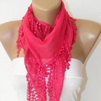 New bridal wedding lace scarf with lace fabric ,pink coauthentic, romantic, elegant, new design shawl neckwarmer cowl christmas gift for her