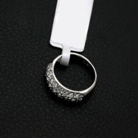 FM42 Silver-tone Pave 3-Row Sparkling Round Clear Crystal Half Eternity Ring R79 Size 5