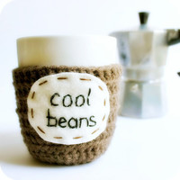 Funny Mug coffee tea cup cozy Cool Beans brown by KnotworkShop