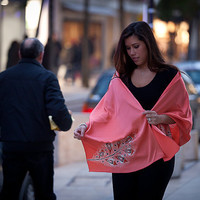 Hand Painted Silk Scarf in Peach White and by BorneoBatikraft