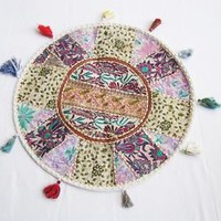 """Indian Traditional White Handmade 22"""" Round Cushion Cover Meditation Pillows"""