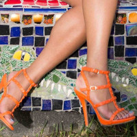 "Bodie Sandals 4"" Heels in Orange"