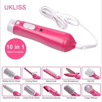 Sale Comb Hairbrush High Quality 10 In 1 Electric Hair Curlers Multifunctional Dryer Brush With Rotation Styler Curler