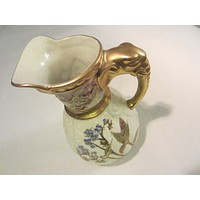 Royal Worcester Jug Porcelain Pitcher Hand Painted Gold Elephant Handle