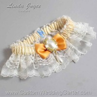 """Gold and Ivory Lace Wedding Garter """"Victoria 10"""" Gold"""