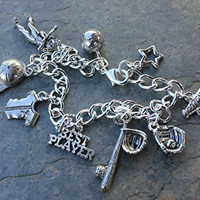 Softball Baseball Charm Bracelet- Pewter Charms, Silver Plated Chain- Hat, Player, Ball, Jersey, Bat (8.5 Inches)
