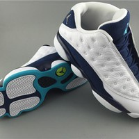 "Air Jordan 13 Low ""Hornets white/blue Basketball Shoes 41-47"