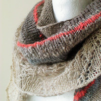 Natural Hand Knit Shawl/Stole - Rustic Wedding/Special Occasion - Sustainable Fashion - Ready to Ship - UK Seller