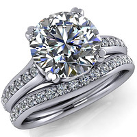 Laurent Round Center Stone 4 Prong Diamond Channel Engagement Ring