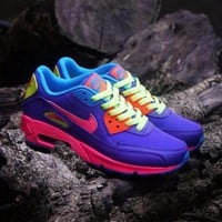 Tagre™ ONETOW Best Online Sale Nike Air Max WMNS 90 GS Candy Purple Pink Blue Orange Running Shoes Sport Shoes