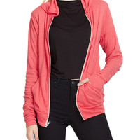 LE3NO PREMIUM Womens Ultra Lightweight Zip up Hoodie Jacket with Pockets (CLEARANCE)