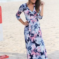Navy Floral Wrap Maxi Dress with 3/4 Sleeves