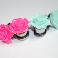 Rose 00g (10mm) Steel Plugs, Formal, Ear Gauges, Women, Stretched Ears, Wedding, Hider Plugs, Floral, Flower, Plugs for Girls, CHOOSE COLOR