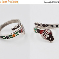 ON SALE Vintage Taxco 925 Silver & Enamel Snake Ring, Mexico, Bypass, Wrap, Multicolor, Serpent, Size 7, So Cool! #b378