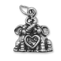 Oxidized Sterling Silver Elephants in Love Charm