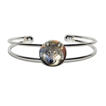 Gray Wolf with Fall Background Silver Plated Metal Cuff Bracelet