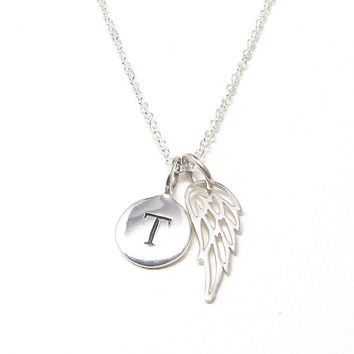 Silver Initial & Angel Wing Necklace