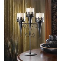 Medieval Gothic Triple Candle Stand