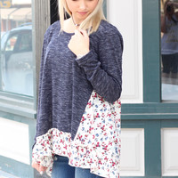 Peppered + Floral Ruffle Knit {Navy}