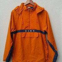 Orange Navy Blue Pullover Hooded Nylon Nike Jacket Windbreaker With Zipper And Front Pocket For Running Training Fits Size L