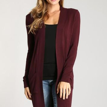 Welcome To New York Cardigan - Burgundy