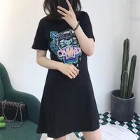 """Kenzo"" Women Casual Fashion Embroidery Tiger Head Letter Short Sleeve Round Neck Dress"