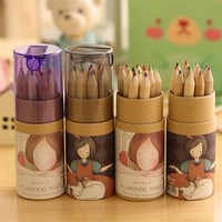 NEW Lovely 12 colors Pencils set Lovely Girl Pencil Sharpener Creative Crayons Water-color Pens L40