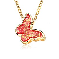 Opal Created Butterfly-Red 18K Gold Plated Necklace in 18K Gold Plated