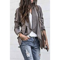 Gray Draped Suede Jacket