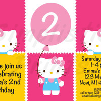 Hello Kitty custom birthday invitations, 4x6 or 5x7, digital file only.