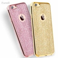 Luxury Clear TPU Phone Case For iPhone 7 & 7 Plus 6 6s 6 Plus SE 5 5s Silicone Soft Plating Back Cover With Bling Card