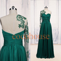 Hunter Green Applique Long Fasion Prom Dresses Beaded Evening Gowns Hot Homecoming Dresses Evening Dresses Wedding Party Dresses Party Dress