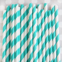 Shop Sweet Lulu - Striped Paper Straws: Teal