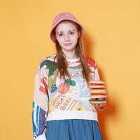 Supermarket Cropped Pullover Tee by TYAKASHA