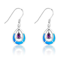 Sterling Silver Created Blue Opal and Amethyst CZ Teardrop Dangle Earrings