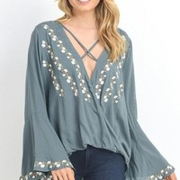 """The """"Morgan"""" Embroidered Blouse - Kale"""