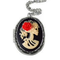Lolita Skeleton Locket Cameo Necklace