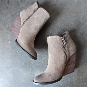 very volatile whitby demi wedge suede ankle bootie in khaki
