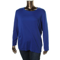 Jones New York Womens Plus Cotton Long Sleeves Pullover Top